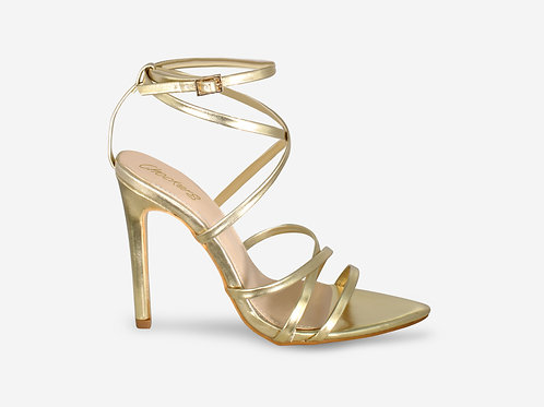Nessa - Gold Metallic Barely There Pointed Toe Heel