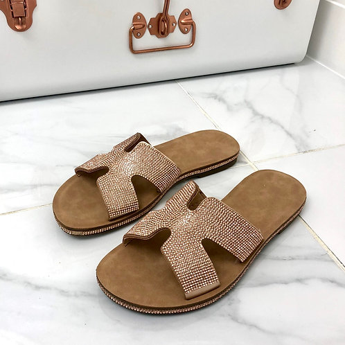 Havana - Rose Gold Diamante H Style Birkenstock Sole Slider Sandal