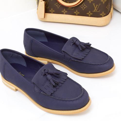 Ava - Navy Faux Nubuck Tassle Loafer