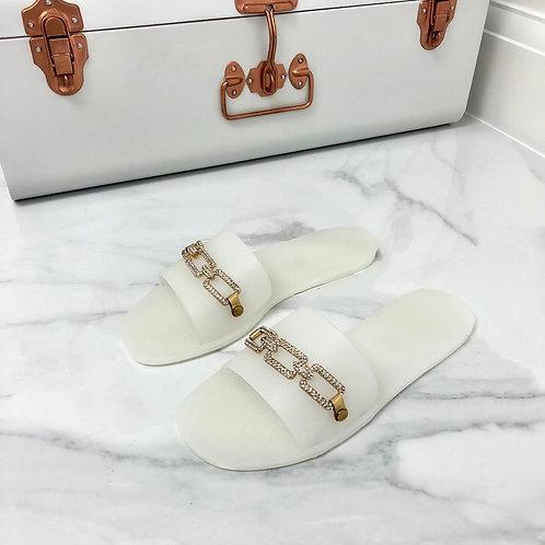 Harper - Cloudy Transparent Jelly Gold Diamanté Chain Slider Sandal