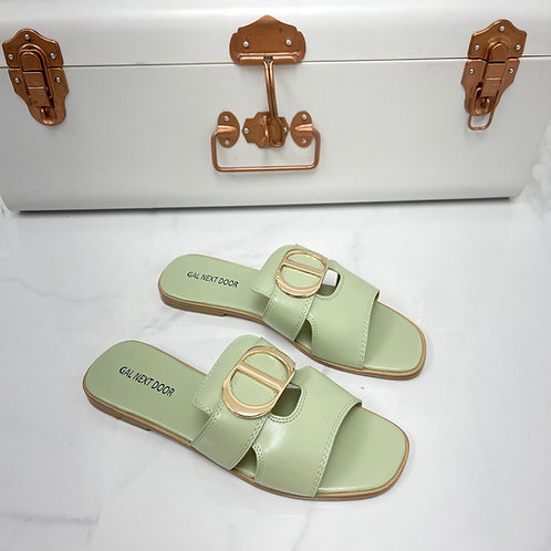 Dakota - Sage with Gold Detail Slip On Flat Sandal