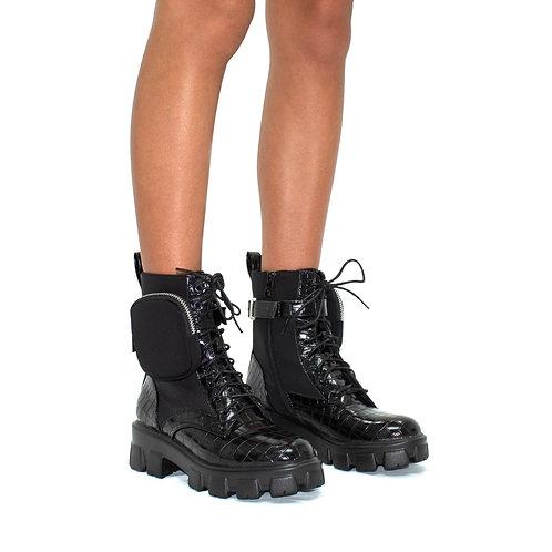 Harvey - Black Croc with Lycra Panelling & Satin Pocket Ankle Boots