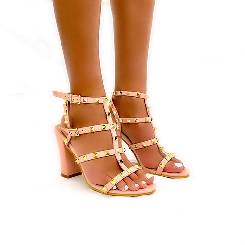 Roxanne - Blush Pink Strappy with Gold Stud Detail Block Heels