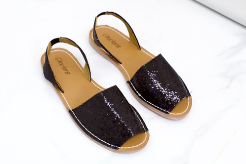 Mia - Black Glitter Peep Toe Sling Back Sandals