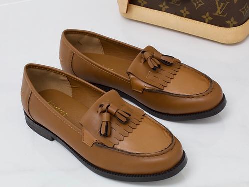 Ava - Dark Tan Vegan Leather Tassle Loafer