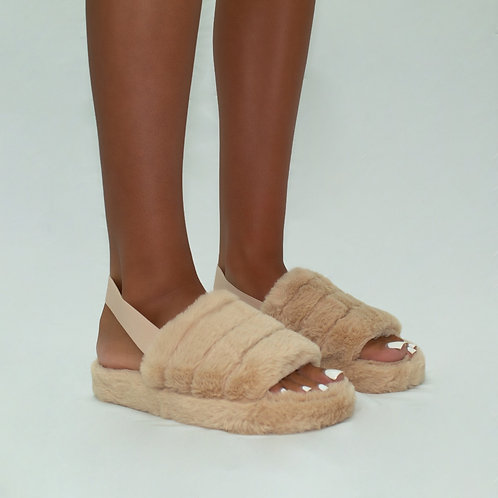 Sky - Mocha Fluffy Sling Back Slider Sandals