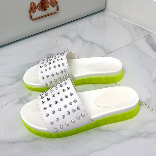 Tyra - White with Yellow Neon Sole Silver Studded Slip On Slider