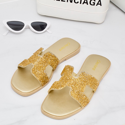 Maya - Gold Crystal Detail H Style Slider Sandal