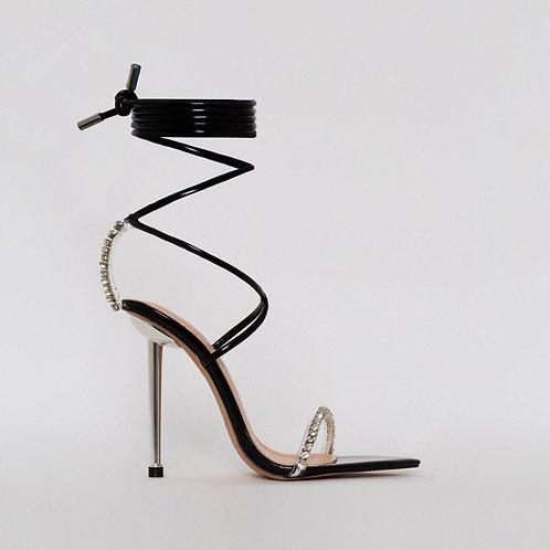 Karmen - Black Patent Clear Diamante Tie Up Stiletto Heels