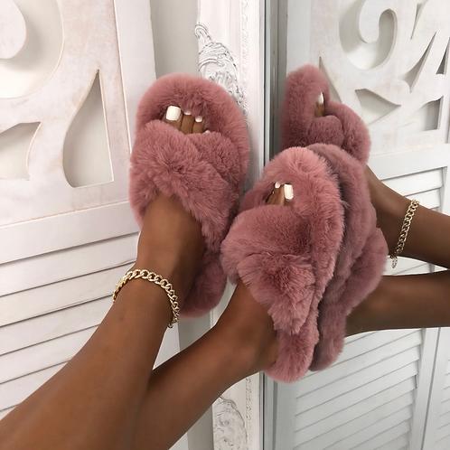 Bear - Pink Fluffy Crisscross Slip On Slider Slippers