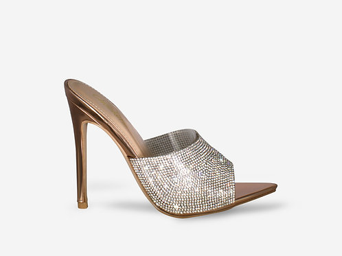 Lola - Rose Gold Pointed Toe Diamante Heel
