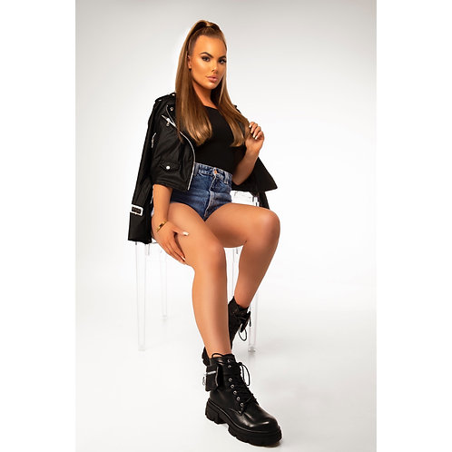 Erica - Black Faux Leather Mini Pocket Pouch Lace Up Chunky Sole Boots