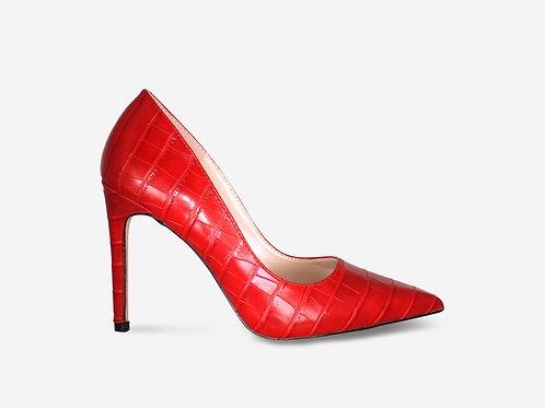 Stacey - Red Croc Print Stiletto Court Heel
