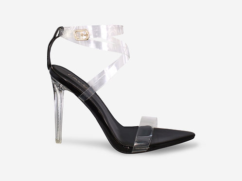 Whitney - Black Patent Perspex Straps Clear Heel