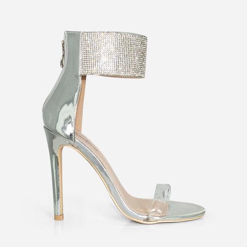 Selena - Silver Diamante Cuff Perspex Heel