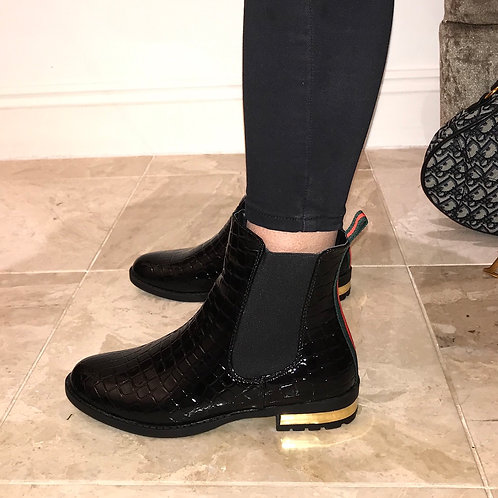 Ella - Black Croc Print Patent Green/Red Detail Ankle Boot