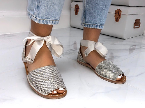 Aariya - Silver Diamanté Tie Up Flat Peep Toe Sandal