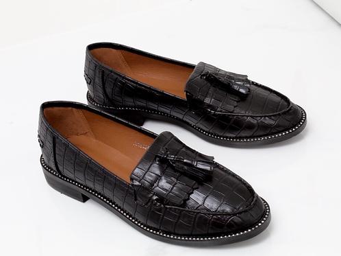 Victoria - Black Vegan Leather Croc Print Diamante Sole Tassel Loafer