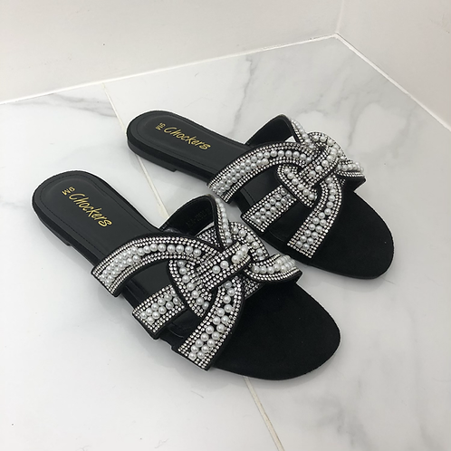 Lexi - Black Faux Suede Silver Diamanté Pearl Detail Slider Sandals