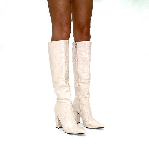 Natasha -  Beige Croc Print Knee High Pointed Toe Block Heel Boots