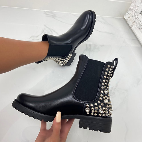 Michelle - Black Faux Leather Sliver Studded Back Ankle Boot