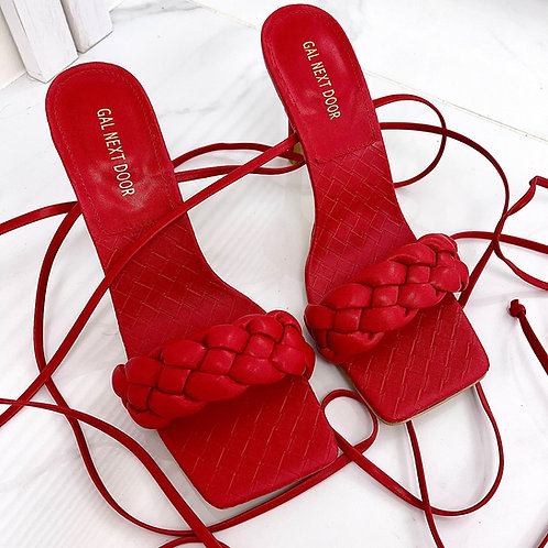 Angelica - Red Woven Detail Tie-Up Low Mule Heels