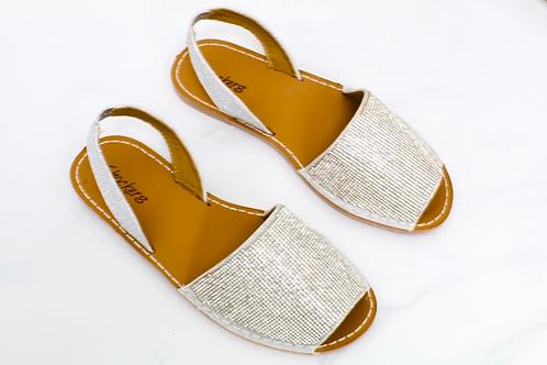 Mia - Silver Diamanté Peep Toe Sling Back Sandals