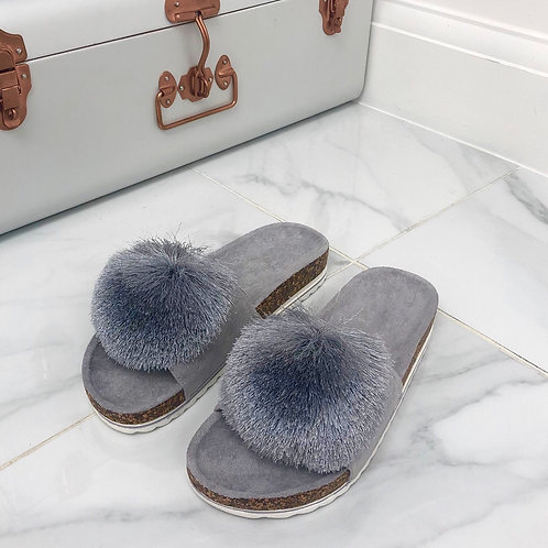 Ada - Grey Faux Suede With Thread PomPom Flat Slip On Slider