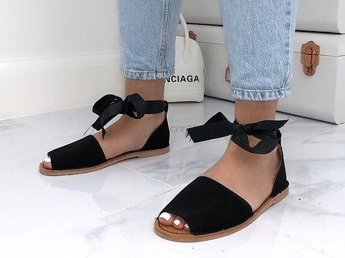 Aariya - Black Faux Nubuck Tie Up Flat Peep Toe Sandal
