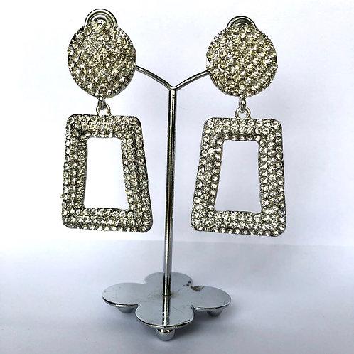 Large Silver Frame Diamanté Earrings