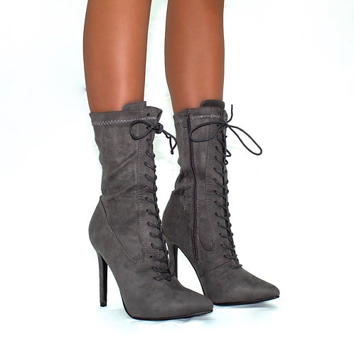 Kennedy- Grey Faux Suede Pointed Toe Zip Up Stilletto Heel Ankle Boots