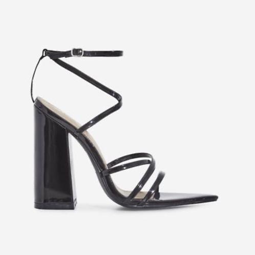 Emma - Black Patent Pointed Toe Block Heel