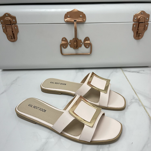 Esmerelda - Pale Pink With Gold Square Detail and Cut Outs Flat Slip On Sandals