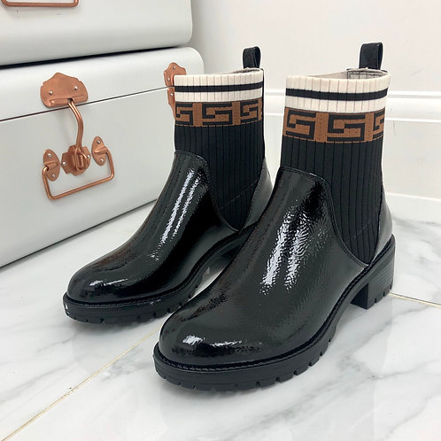 Farah - Black Patent With Stretchy Knit Sock Brown/ Cream Detail Ankle Boots