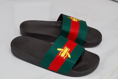 Brooke - Red and Green Stripe Bee Slider Sandal
