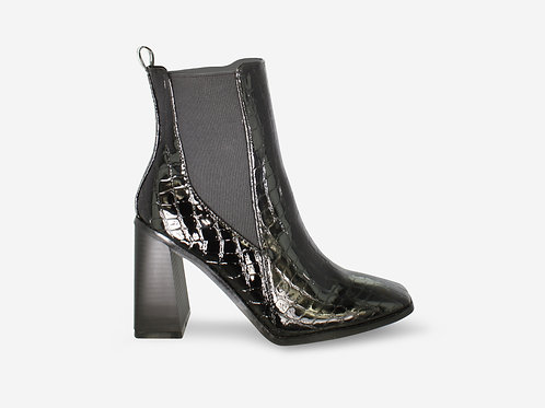 Tammy - Black Patent Square Toe Ankle Boots
