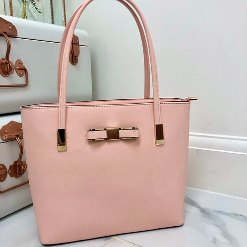 Baby Pink with Gold Bow Detail Small Shoulder Bag