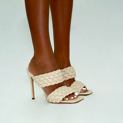 Sasha - Cream Double Woven Band Stiletto Heels