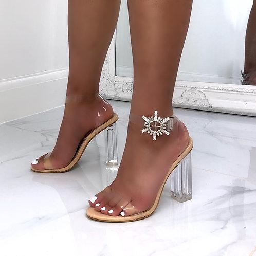 Sienna - Nude Patent Diamante Detail Perspex Block Heel