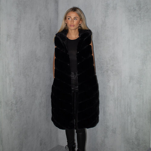 Black Faux Fur Longline Hooded Body-Warmer Gillet Coat