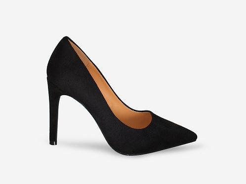 Alexandra - Black Faux Suede Court Heel