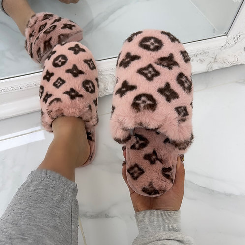 Ari- Pink and Brown Fluffy Printed Slipper Sliders