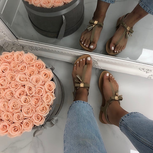May - Nude with Gold Bow and Tassel Buckle Up Flat Toe Post Sandal