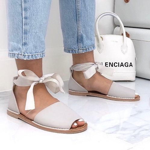 Aariya - Light Grey Faux Nubuck Tie Up Flat Peep Toe Sandal