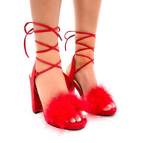 Lacey - Red Faux Suede Fluffy Tie Up Block Heels