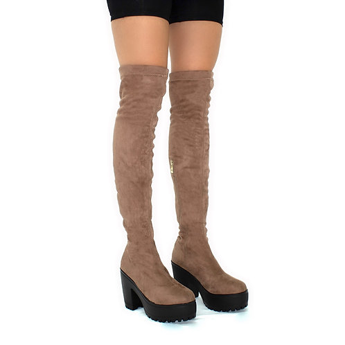 Addison- Mocha Faux Suede with Black Chunky Sole Zip Up Thigh High Boots