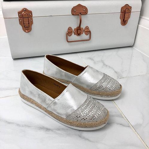 Diana - Silver Diamante Flat Espadrille