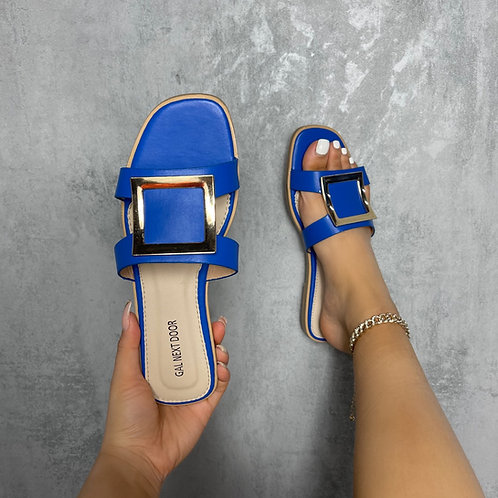 Esmerelda - Blue With Gold Square Detail and Cut Outs Flat Slip On Sandals