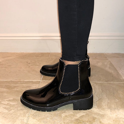 Hailey - Black Patent Silver Ball Ankle Boot