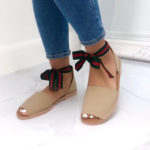 Aariya - Nude with Green/ Red Tie Up Flat Peep Toe Sandal